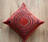 Beautiful Mirror work, Boho-chic/Bohemian, Hand embroidered, cushion/pillow cover 16x16 inches. Cotton, Indian handmade, Home decor