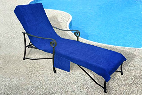 Pool Side 1000-Gram Chaise Cover, Pool lounge Chair Cover with 10-Inch Slip-on Back and Side Pocket Blue