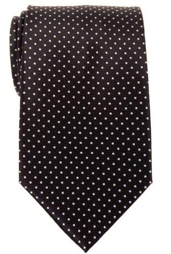 Retreez Modern Mini Polka Dots Woven Microfiber Men's Tie - Black with White Dots - Black Mini Dot