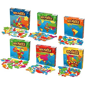 GeoToys - Set of 6 GeoPuzzles - World Map Puzzle & Jigsaw Puzzle to Learn Countries of the World - Geography Game for Educational Fun