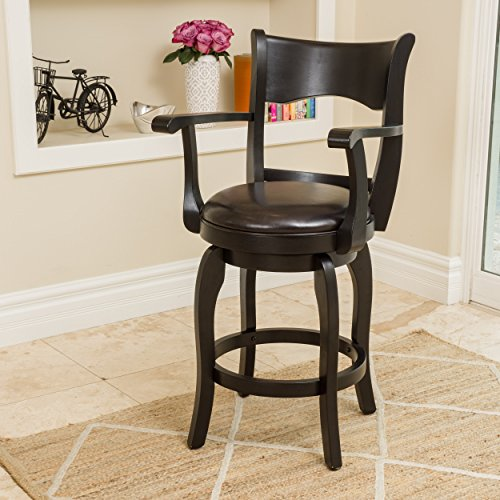 Cody Armed Espresso Leather Swivel Counter Stool (Armed Bar Stool)