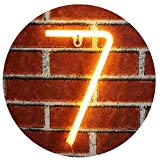 Neon Number Sign Wall Decorative Neon Lights Warm White Alphabet Letter Lights Night Lamp for House Bar Pub Hotel Beach Recreational, Kids Room, Living Room, Birthday Wedding Party Decor - 7 (Seven)