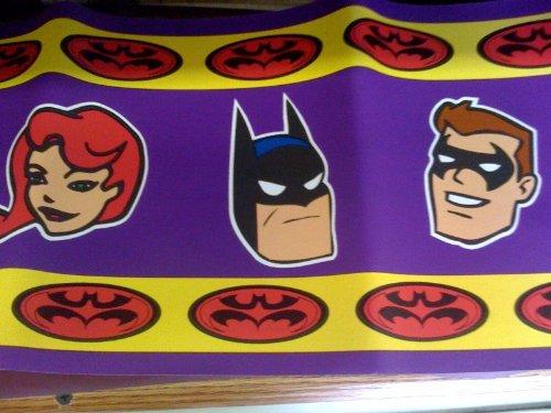 Batman & Robbin Wall Border Retro Look Purple with Logo and Animated Characters