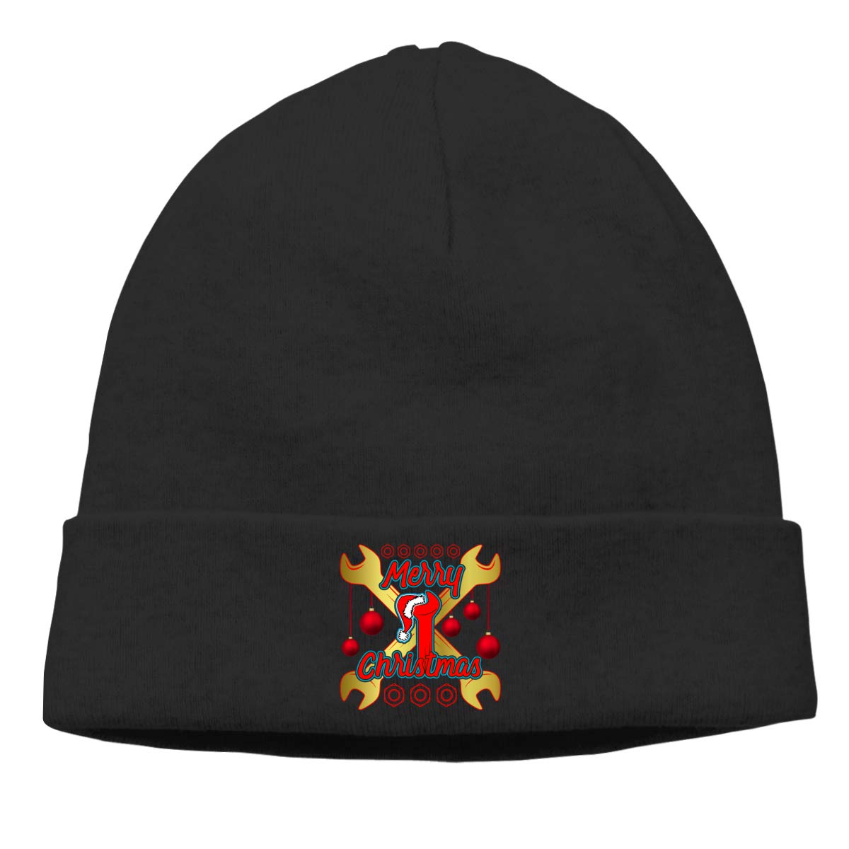 Merry Christmas Cross Wrench with Hat Knit Cap Beanie Hats Skull for Mens Black