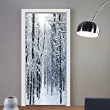 Gzhihine custom made 3d door stickers Snowy Trees Mountain Winter Holiday Digital Printed Forest Valentines Day for Office Decor Machine Washable White Black Blue For Room Decor 30x79