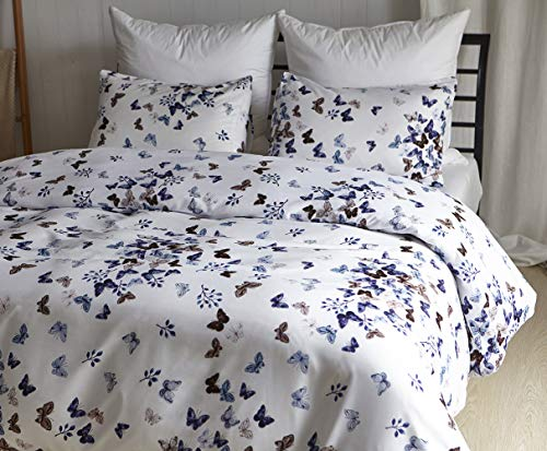 Chanyuan Colorful Butterfly Queen Duvet Cover Set Full/Queen Size White Patterned Bedding,Soft Hypoallergenic Brushed Microfiber,Zipper Closure,1 Duvet Cover + 2 Pillowcases (YD,Q)