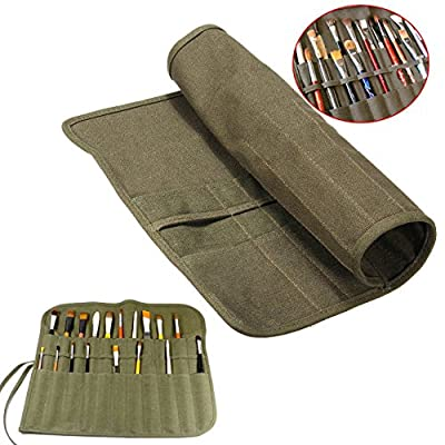 WElinks Roll Up Canvas Artist Draw Pen Holder Watercolor Oil Paint Brush Bag Cases Organizers - 22 Slots, Army Green