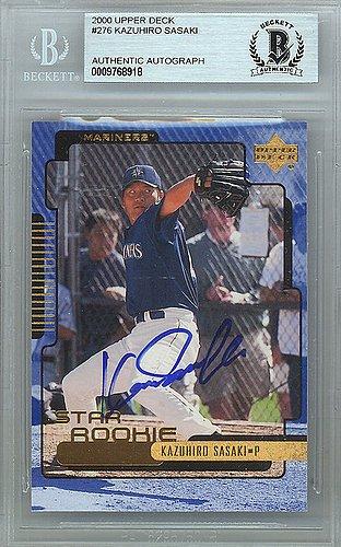 Kazuhiro Sasaki Signed 2000 Upper Deck Rookie Card #276 Seattle Mariners - Beckett Authentication