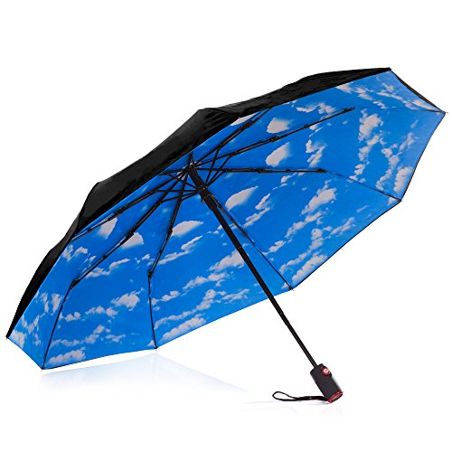 IHOR Best Automatic Compact Windproof Totes Open & Close Wind-Resistant Portable Black Travel Umbrella with Blue Sky Canopy Small & Strong, Easy Touch Micro Mini Male & Female