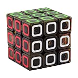 D-FantiX Qiyi Mofangge Dimension Speed Cube 3x3 Stickerless Smooth Magic Cube Puzzles Transparent Black 57mm
