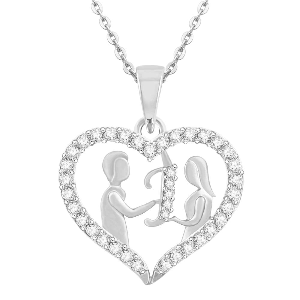 0.25Ct Round Simulated Diamond Couple HeartILetter Pendant With 18 Chain .925 Sterling Silver