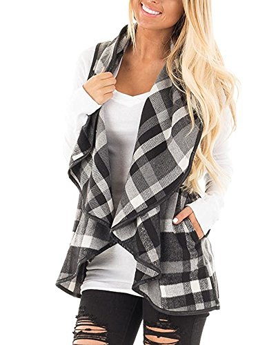 Mafulus Womens Vest Plaid Sleeveless Lapel Open Front Cardigan Sherpa Jacket with Pockets Black and White