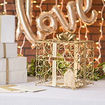 gold wedding reception gift card holder box with white