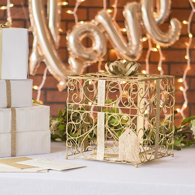 Gold Wedding Reception Gift Card Holder Box with White Metal Love Design Photo Frame by RaeBella Weddings & Events New York