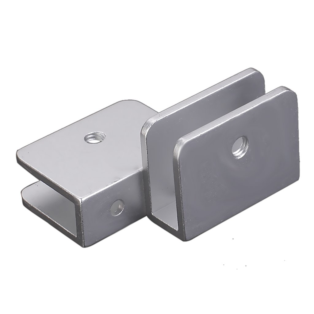 Soporte en clip para estantes de cristal (2 unidades, forma rectangular, con tronillos) Generic