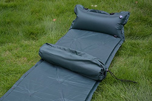 Deluxe Self Inflating Camping Mattress - LRC Self-Inflating Camping Sleeping Pad with Attached Pillow Deluxe Camping Sleeping Air Pad Mattress Basecamp Sports Comfort Lite LRC Self Inflating Filled Camper With an Inflatable Pillow