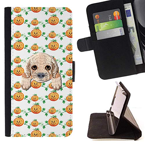 [ Cocker Spaniel ] Embroidered Cute Dog Puppy Leather Wallet Case for LG K7 / LG Tribute 5 / LG Escape 3 [ Happy Halloween Pumpkin Pattern ] -