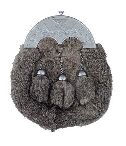 (Grey Rabbit Fur Sporran )