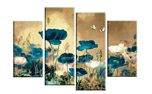 Grepova Art - 100% Hand-painted 4 Panel Modern Landscape Paintings Teal Beige Chinese Floral Canvas Wall Art for Home Decorations and office Decor, Framed,Stretched and Ready to (Art Chinese Oil Painting)