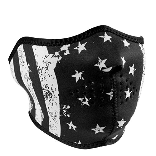 ZANheadgear Unisex-Adult Half Mask (Neoprene, Black & White Flag) (Black/White, One Size)