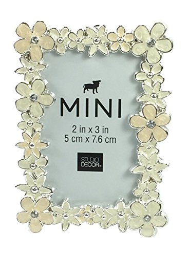 Mini Floral Picture Frame with Creamy White Enamel and Crystals, 2 X (Floral Enamel Frame)