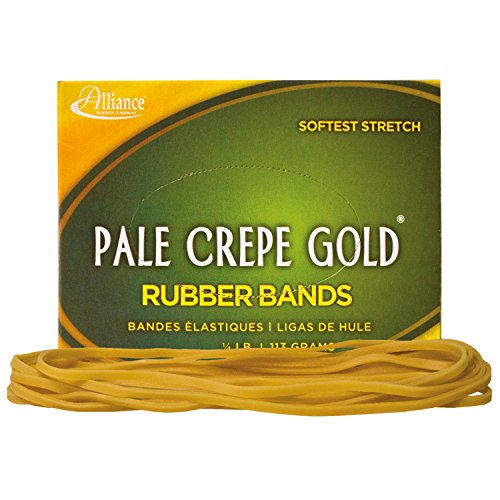 Alliance Rubber 21409 Pale Crepe Gold Rubber Bands Size #117B, 1/4 lb Box Contains Approx. 75 Bands (7