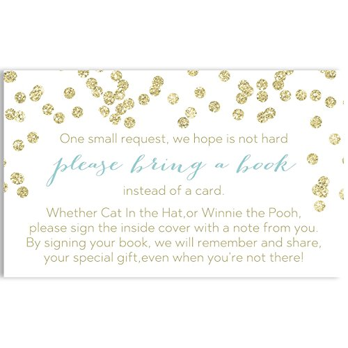 Baby Shower Bring A Book Cards, Baby and Brunch, White, Gold, Blue, Boy, Bring A Book Invitation Book Inserts, Polka Dot, Metallic, Brunch Baby Shower, Set of 24 Printed Cards -