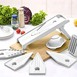 Mandoline Slicer w/ 5 Blades - Vegetable Slicer - Food Slicer - Vegetable Cutter - Cheese Slicer - Vegetable Julienne Slicer with 5 Surgical Grade Stainless Steel Blades (White)