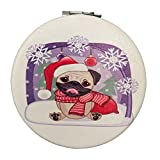Pug Dog Compact Mirror Gift Christmas Stocking Stuffer for Women and Girls