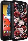 Moto E4 Plus Case,ANLI [Flowers Design} Drop Protection Hybrid Dual Layer Armor Protective Case Cover for Motorola Moto E4 Plus (5.5 inch) Rose