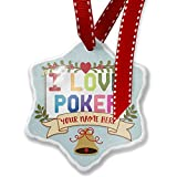 Add Your Own Custom Name, I Love Poker,Colorful Christmas Ornament NEONBLOND