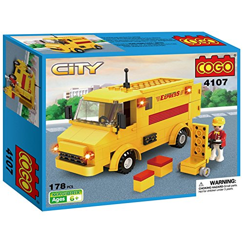 COGO  Postal Mail Trucks Little Deliver Car Vehicle Building Blocks Friction Powered Car  Play Set Kit Yellow 178 Bricks CG4107