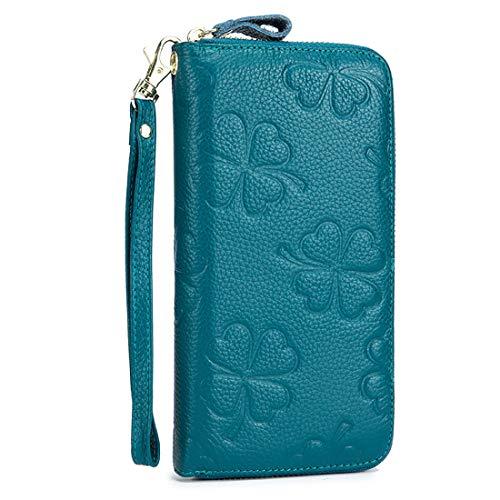Women RFID Wallet Genuine Leather Clutch Wristlet Handbag Purse Embossed Flower Credit Card Holder (Cerulean) ()