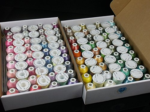 Simthread 120 Spools Colors Polyester Embroidery Thread Polyester Filament Thread for Sewing Machine 120 Color/Set ()