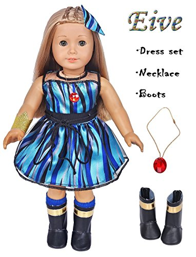 Costume Evie Descendant (Ebuddy 6pc/Set Evie Inspired Costume Doll Clothes Dress Include Shoes Fits 18 inch Dolls Includes American Girl, Journey Girl,Our Generation)