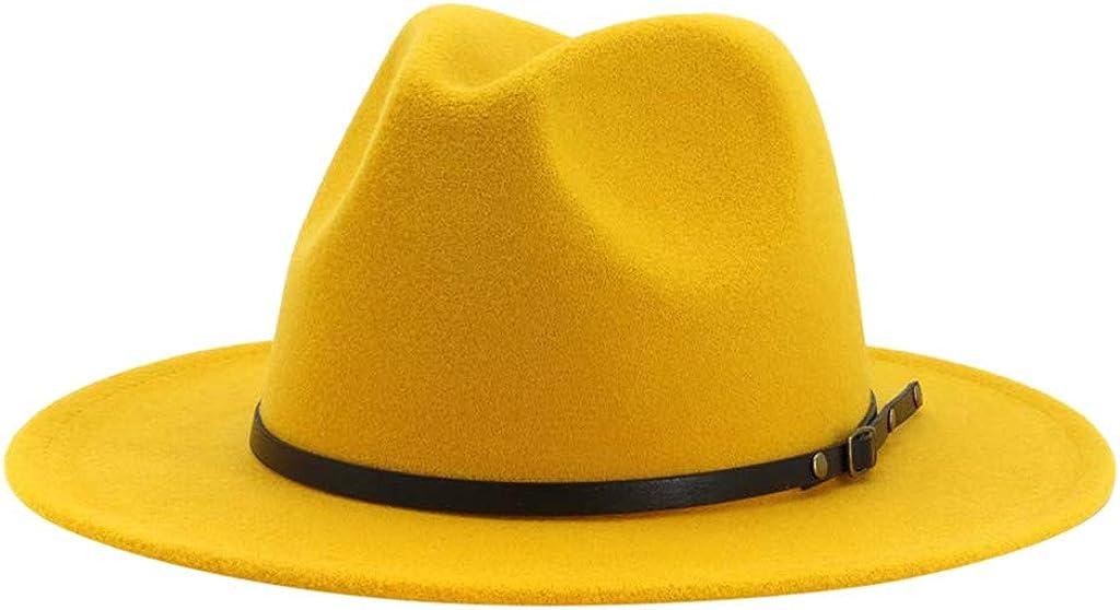 LINSINCH Casquette Homme Bonnet Printemps Chapeau Large Vintage Chapeau Haut Forme Couleur Unie avec Boucle De Ceinture Chapeaux Outbacks R/éGlables Hiver Chaud Cocktail Mariage
