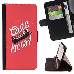 Momo Phone Case / Flip Funda de Cuero Case Cover - Llame ahora Viejo Celular Pink Caligrafía texto - Huawei Ascend P8 (Not for P8 Lite)