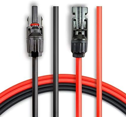 con conectores MC4 hembra y macho Kit de Herramienta para el Adaptador 10 pies rojo + 10 pies negro ANFIL Cable de Extensi/ón del Panel Solar 10 AWG de 3M//10 pies