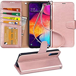 Arae Wallet Case for Samsung Galaxy A50 PU Leather flip case Cover [Stand Feature] with Wrist Strap and [4-Slots] ID…
