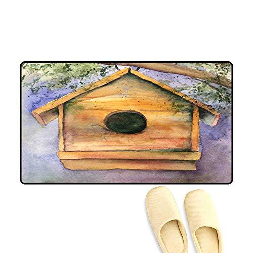 Gator Birdhouse - Door Mats for Inside Non Slip Backing Watercolor Birdhouse