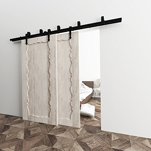 7.5' Center Panel (Vancleef 7.5FT Bypass Door Kit Sliding Barn Door Hardware, Arrow Design, New Style U-Bracket, Black Rustic, Interior and Exterior, With Quiet Glide Roller and Descriptive Installation Manual)