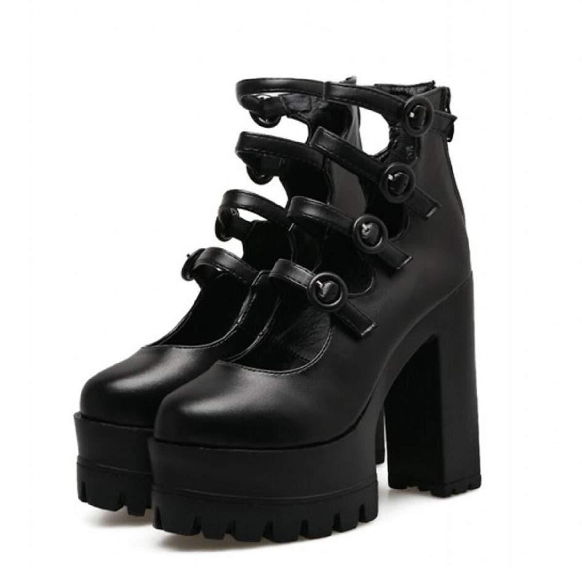 DANDANJIE Frauen Schuhe Super Plateau High Heel Plateau Super Stiefel Block Chunky Heels Buckle Schuhe für 2019 Frühling schwarz 37EU 86d255