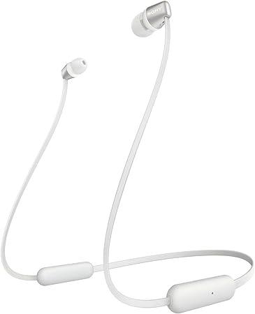 Sony WI C310 Ecouteurs intra auriculaires Bluetooth sans Fil Style Tour de Cou à Finition Métal Blanc