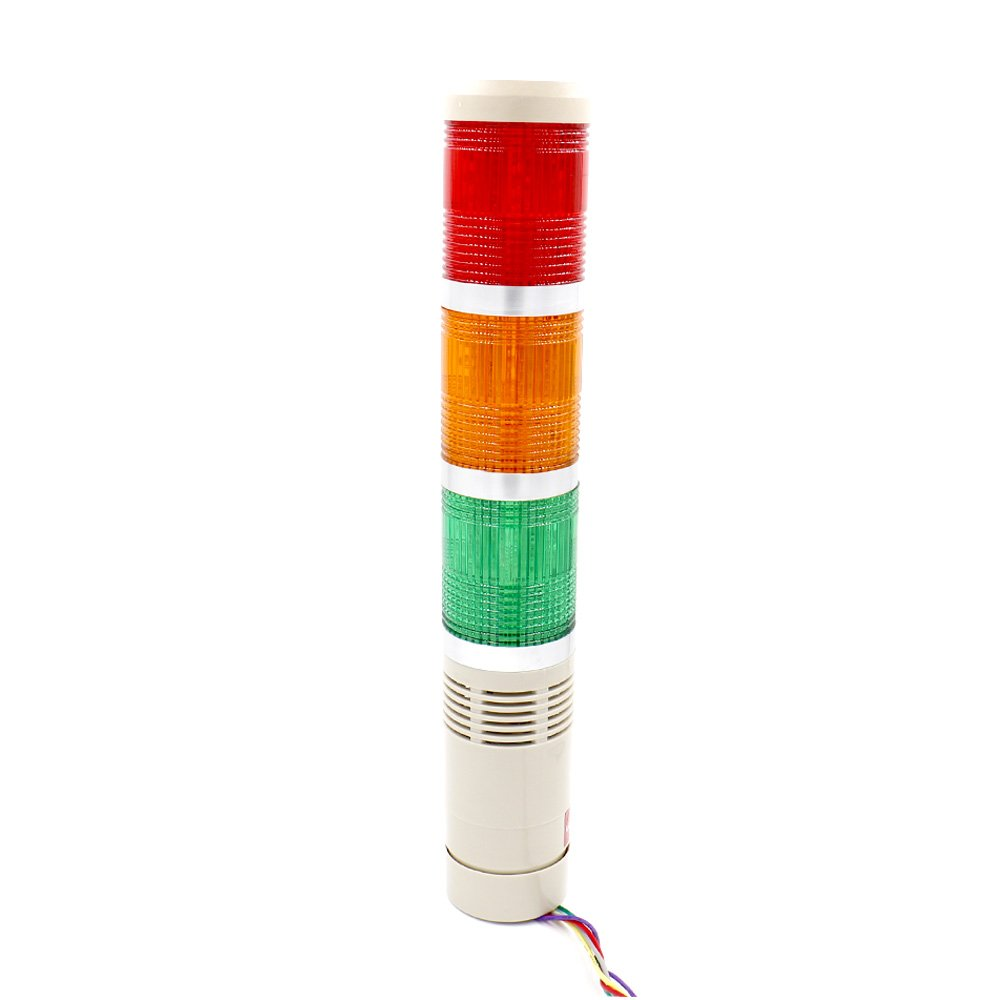 Baomain Industrial Signal Light Column Led Alarm Round Tower Wiring Diagram For Lights On Buzzer Indicator Flash Warning Red Green Yellow Dc 12v