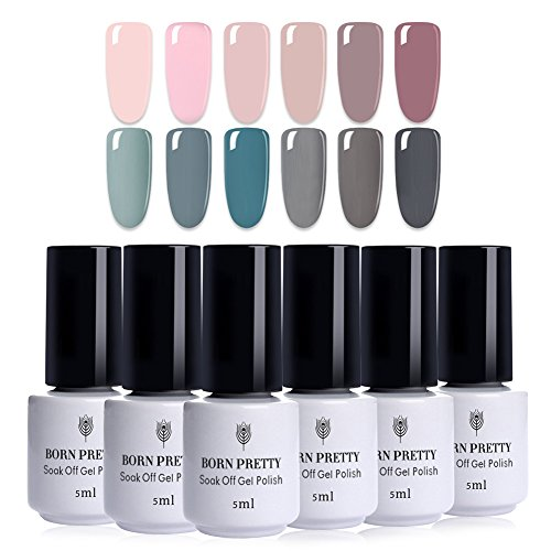 BORN PRETTY 12 Bottles Nail Art UV Gel Polish Pink Gray Seri