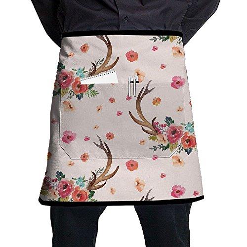 Kjiurhfyheuij Half Short Aprons Deer And Flowers Waist Apron With Pockets Kitchen Restaurant For Women Men Server -