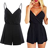 Yiwa Women Sleeveless Deep V Jumpsuit Shorts Elegant Solid Color Sexy Summer Romper Shorts Black XL