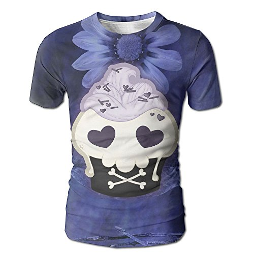 (Skull Cupcake For Delicious Holiday Men Fashion Casual Round Neck Short)