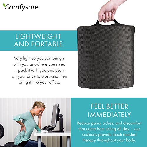 ComfySure Lumbar Support Seat Back Cushion – Memory Foam with Removable Mesh Cover - Lower Back Pain Relief, Helps Posture - Fits Most Office, Desk, Computer Chairs and Car Seats by ComfySure (Image #4)
