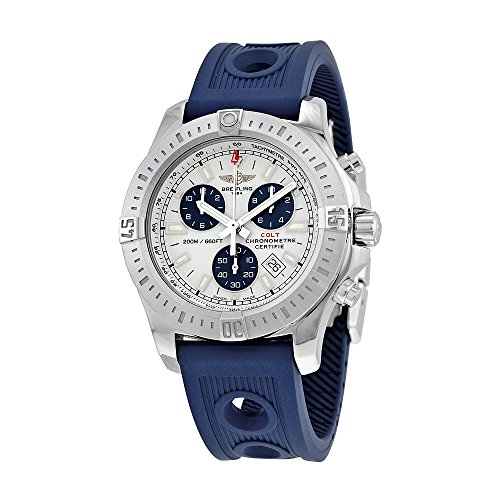 Breitling Colt Chronograph Silver Dial Blue Rubber Quartz Mens Watch A7338811-G790BLOR